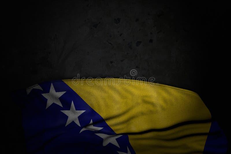 Ładna święto narodowe flagi 3d ilustracja - ciemny wizerunek Bośnia i Herzegovina flaga z ampułą składa na czerń kamieniu z royalty ilustracja