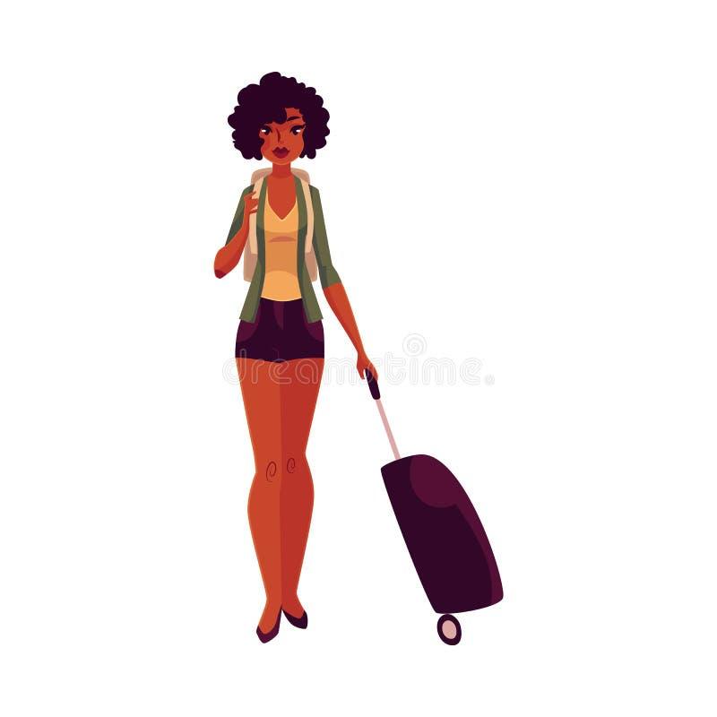 Ładna amerykanin afrykańskiego pochodzenia dziewczyna, kobieta podróżnik z plecakiem i walizka, ilustracji