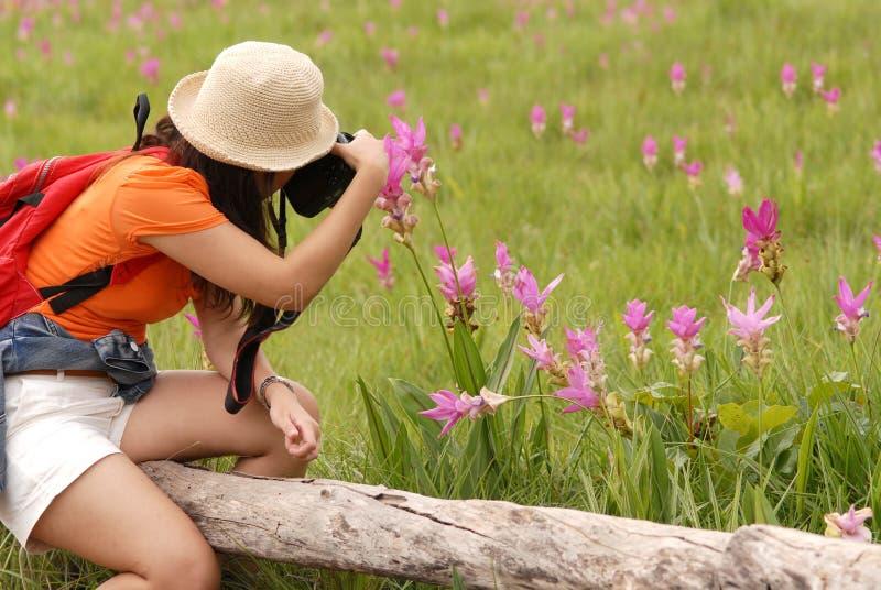 Ładna Azjatycka kobieta bierze fotografię na kwiatu polu. zdjęcia stock