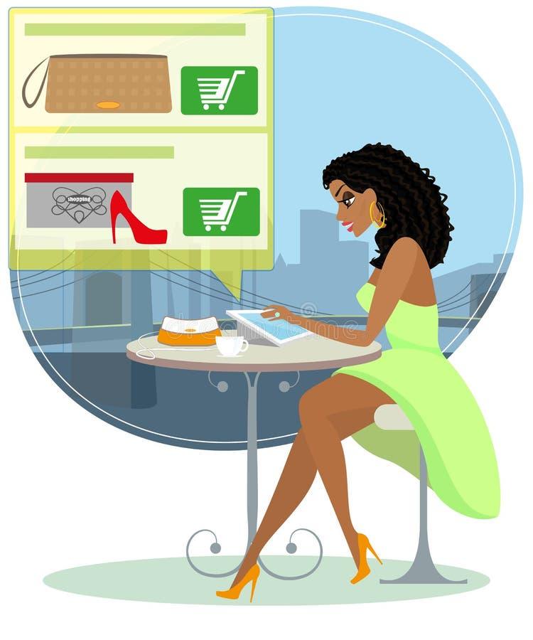 Ładna blackhair kobieta siedzi samotnie w kawiarni ilustracja wektor