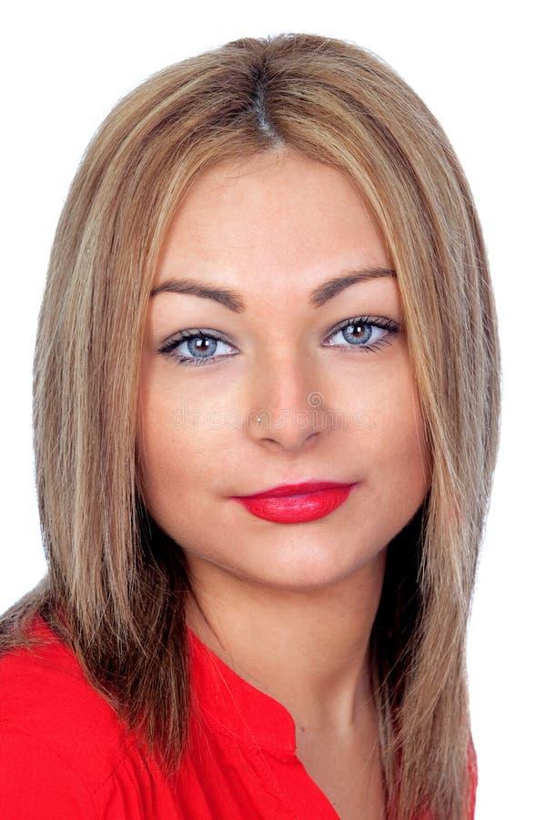 Ładna blond kobieta z czerwonymi wargami obrazy stock