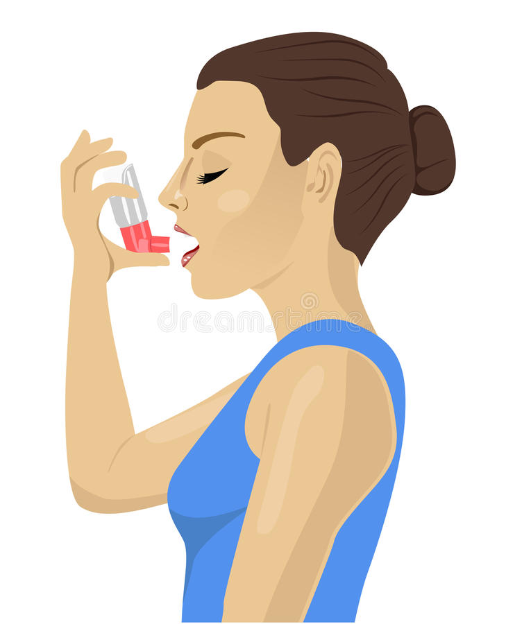 Ładna brunetka używać astma inhalator na białym tle ilustracji