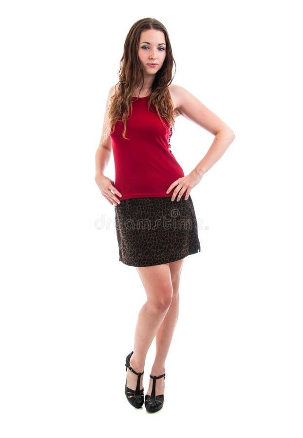 Ładna brunetka w Krótkiej spódnicie zdjęcia stock