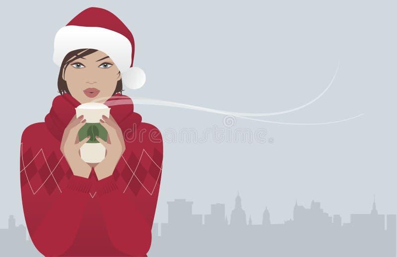 Ładna brunetki dziewczyna jest ubranym Santa Claus kapelusz pije gorącego napój przy bożymi narodzeniami ilustracja wektor