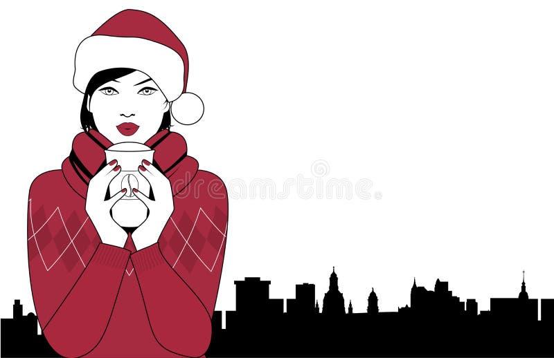 Ładna brunetki dziewczyna jest ubranym Santa Claus kapelusz pije gorącego napój przy bożymi narodzeniami royalty ilustracja