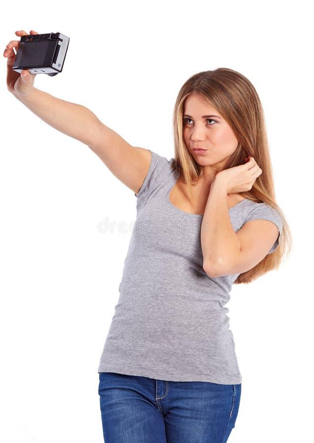 Ładna dziewczyna bierze obrazki Selfie fotografia stock