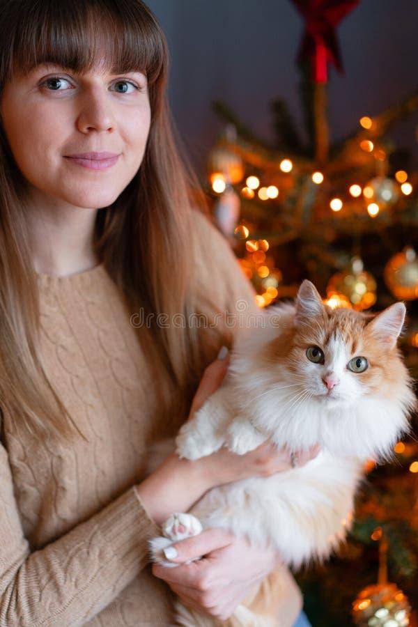 Ładna dziewczyna obejmuje puszystego czerwieni i bielu kota na choinki tle Dekorujący Naturalną Duńską świerczynę w domu fotografia stock