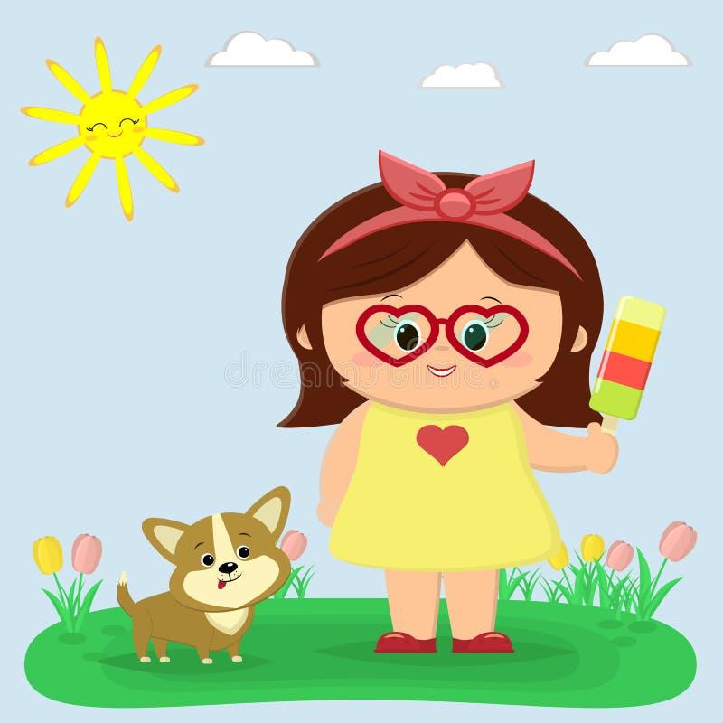 Ładna dziewczyna w żółtej sukni i szkłach trzyma lody Obok on siedzi szczeniaka Corgi Halizna z tulipanami, słońce ilustracja wektor