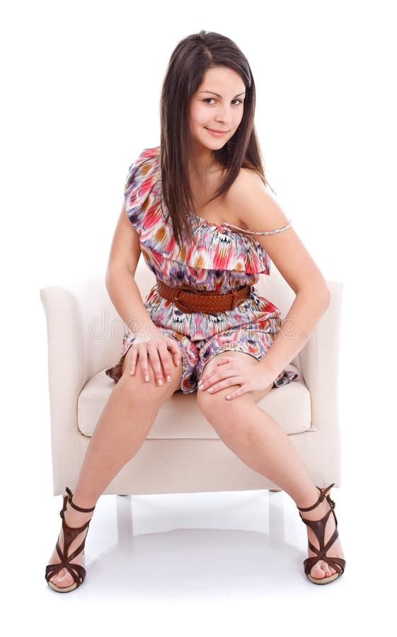 Ładna dziewczyna w kolorowej sukni obrazy royalty free