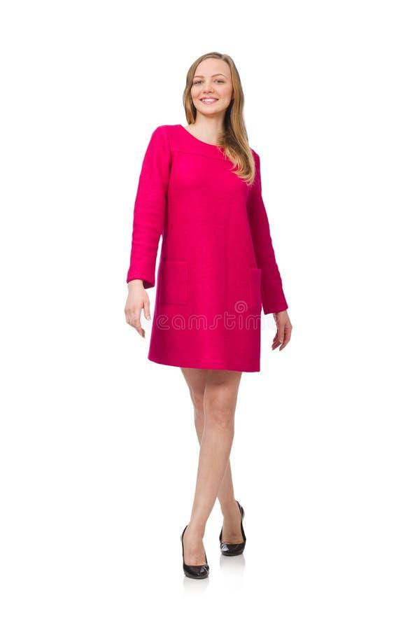 Ładna dziewczyna w menchii sukni obrazy royalty free