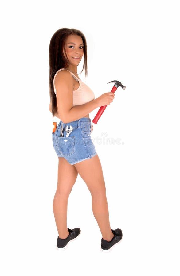 Ładna dziewczyna z narzędziami obrazy royalty free