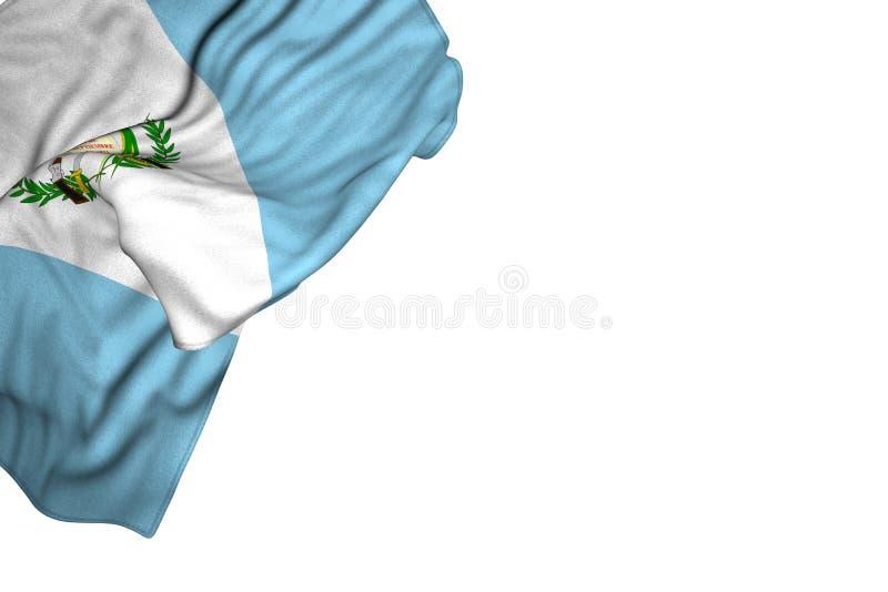 Ładna Gwatemala flaga z wielkimi fałdami kłama mieszkanie w odgórnym lewym kącie odizolowywającym na bielu - jakaś uczty flagi 3d royalty ilustracja