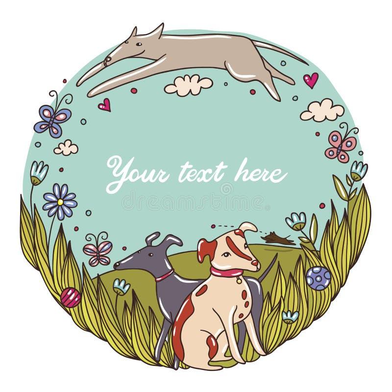 Ładna ilustracja z psami w parku ilustracja wektor