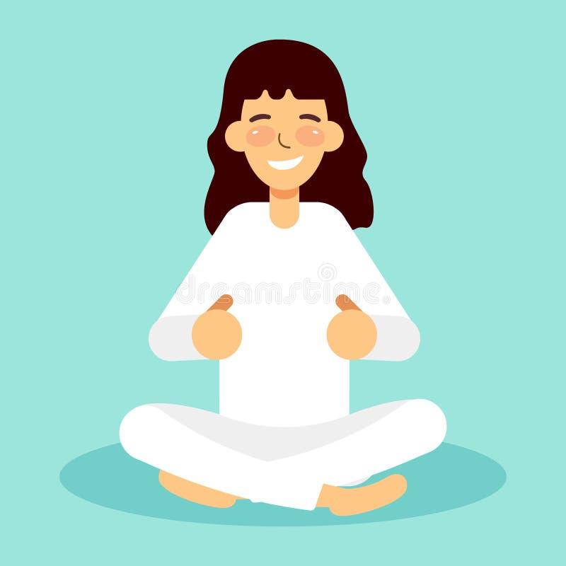 Ładna kobieta ćwiczy joga pozy, szkolenie, pojęcie dla projekta, postać z kreskówki, wektorowa ilustracja ilustracji