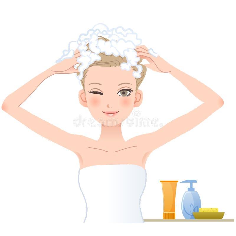 Ładna kobieta mydli jej głowę na białym tle royalty ilustracja
