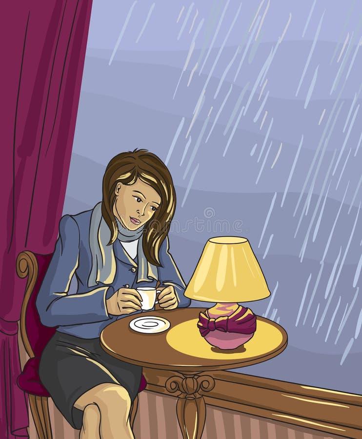 Ładna kobieta pije herbaty w kawiarni wektor royalty ilustracja