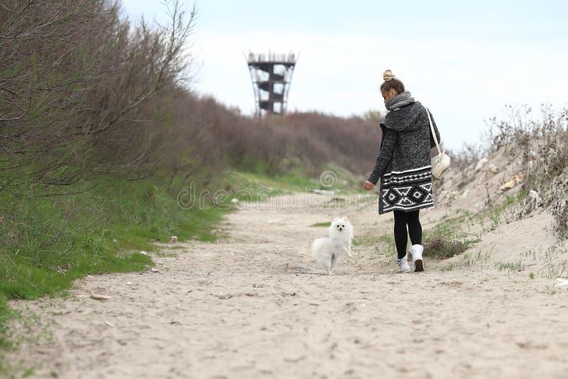 Ładna kobieta z jej psem w za parku Szczeniak bielu pies biega z nim jest właścicielem fotografia royalty free