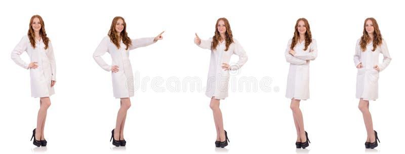 Ładna kobiety lekarka odizolowywająca na bielu zdjęcie stock