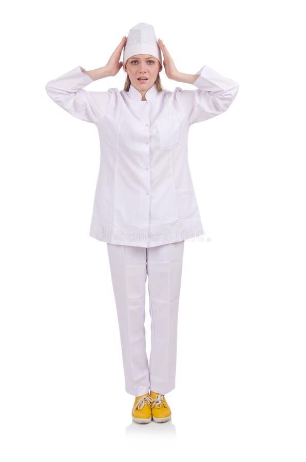 Ładna kobiety lekarka odizolowywająca na bielu zdjęcia stock