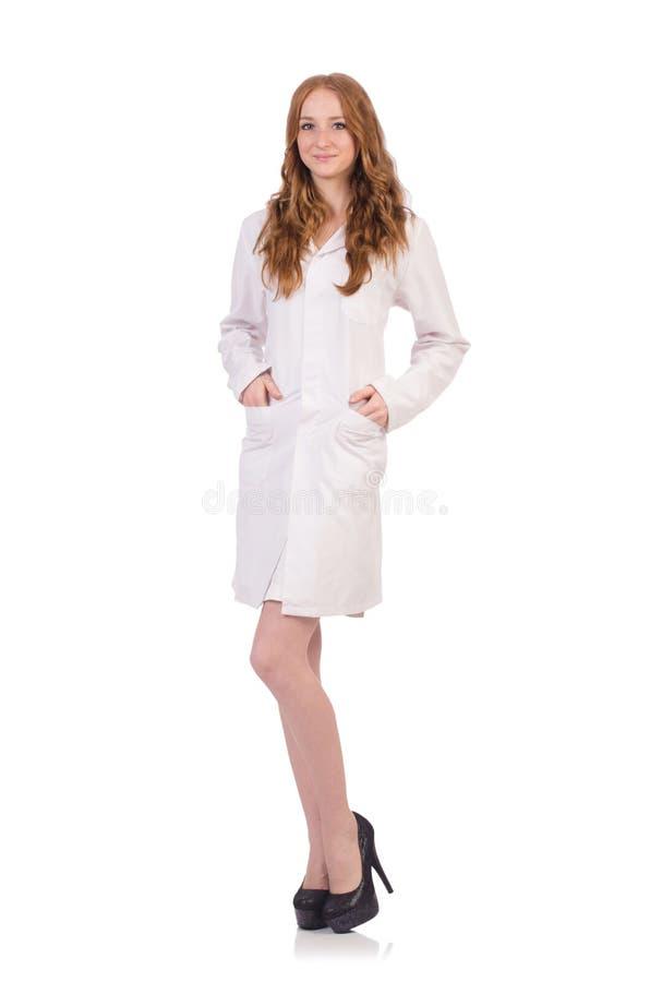 Ładna kobiety lekarka odizolowywająca na bielu obrazy royalty free