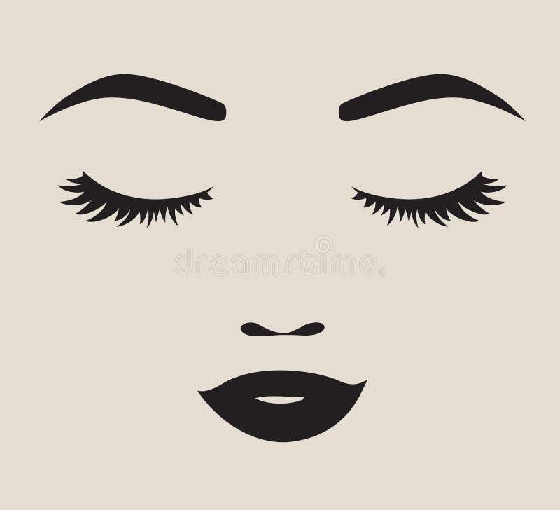 Ładna kobiety twarzy sylwetki wektoru ilustracja royalty ilustracja