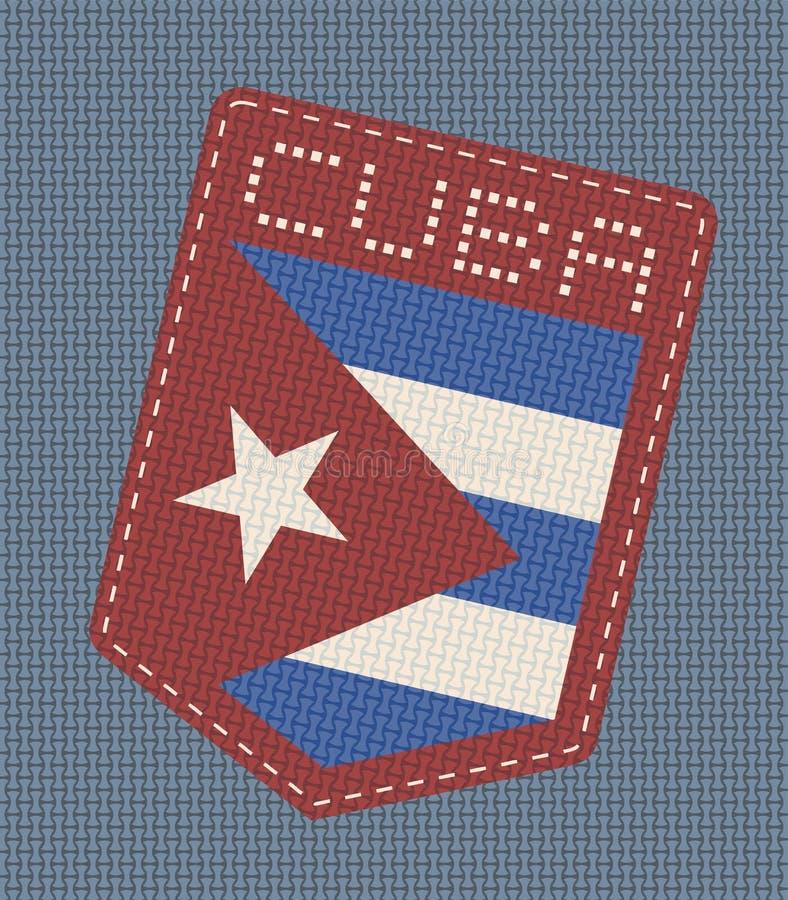 Ładna Kuba drelichowa łata ilustracja wektor