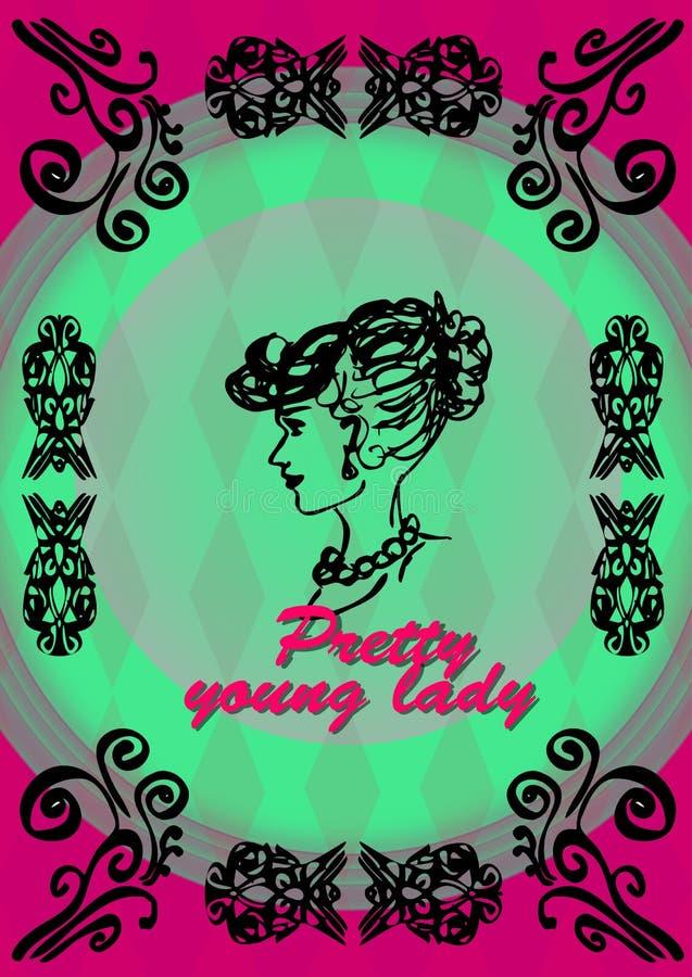 Ładna młoda dama, głowa w profilu ilustracji