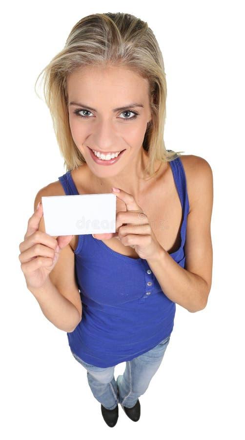 Ładna młoda dama z znak deską zdjęcie royalty free