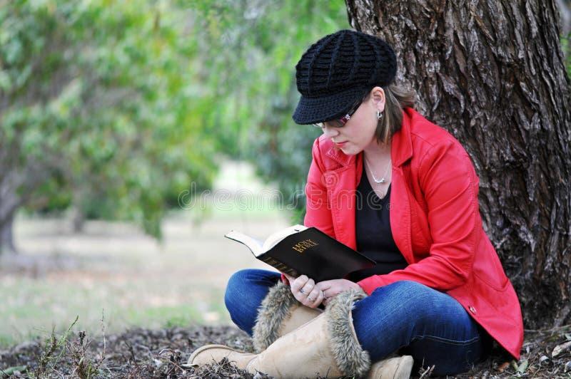 Ładna młoda dziewczyna czyta świętą biblię pod dużym drzewem w parku fotografia stock