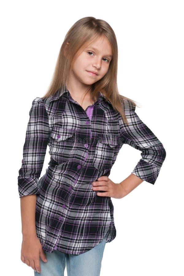 Ładna młoda dziewczyna myśleć obraz stock