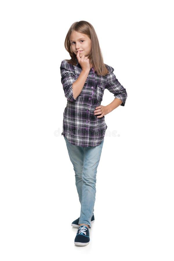Ładna młoda dziewczyna myśleć zdjęcie royalty free