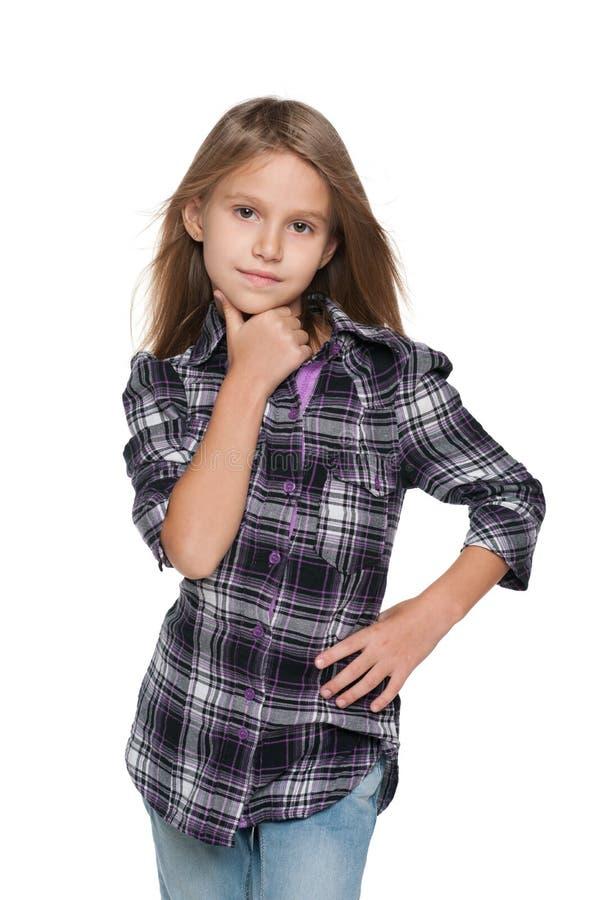 Ładna młoda dziewczyna wyobraża sobie fotografia stock