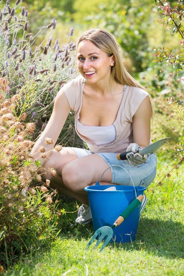 Ładna młoda kobieta pracuje w ogródzie wśród zielonych rośliien i kwiatu fotografia royalty free