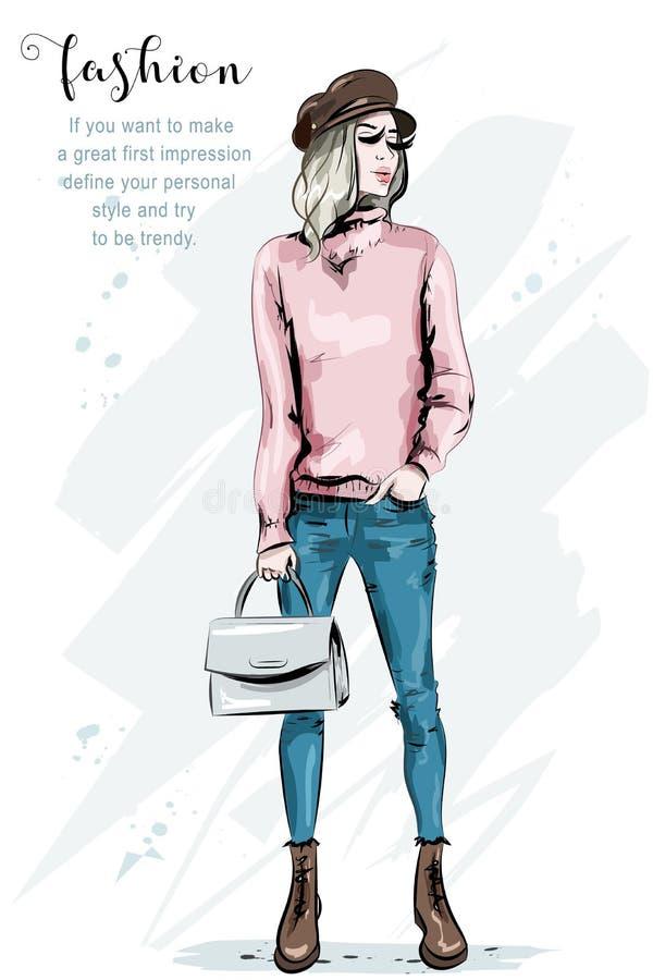 Ładna młoda kobieta w nakrętce moda stanowić model Elegancka dziewczyna z torbą Piękna dama w modzie odziewa royalty ilustracja