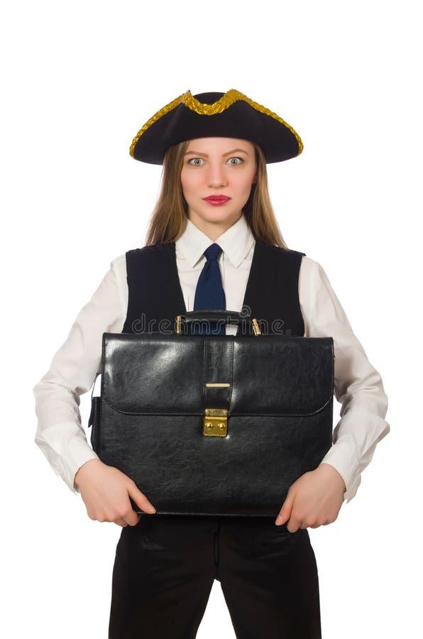 Ładna pirat dziewczyny mienia torba odizolowywająca na bielu obrazy royalty free
