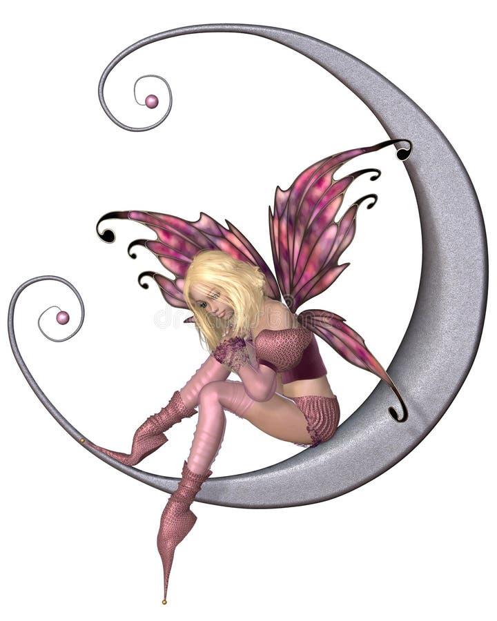 Ładna Różowa księżyc czarodziejka ilustracja wektor