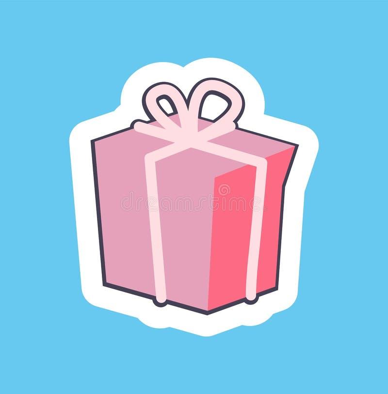 Ładna Różowa prezenta pudełka sztandaru wektoru ilustracja ilustracja wektor