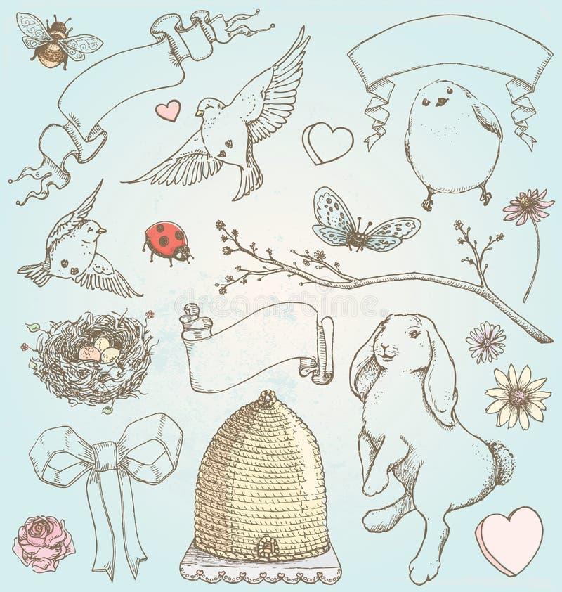 Ręka Rysujący rocznik wiosny elementów wektoru set royalty ilustracja