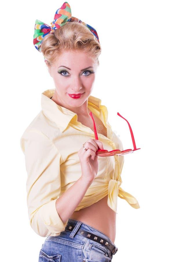 Ładna rewolucjonistki pinup kobieta z szkłami fotografia stock