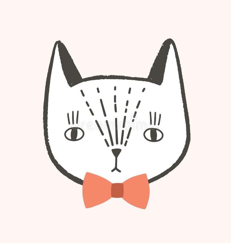 Ładna twarz lub głowa kot z eleganckim łęku krawatem Uroczy kreskówka kaganiec jest ubranym eleganckiego akcesorium odizolowywają royalty ilustracja