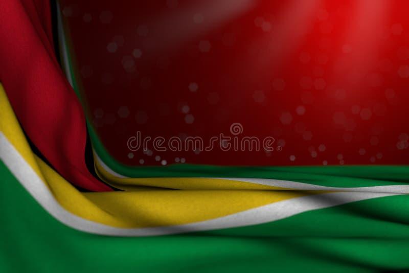 Ładna uczty flagi 3d ilustracja - ciemna fotografia Guyana flagi kłamstwo w kącie na czerwonym tle z bokeh i bezpłatna przestrzeń ilustracja wektor