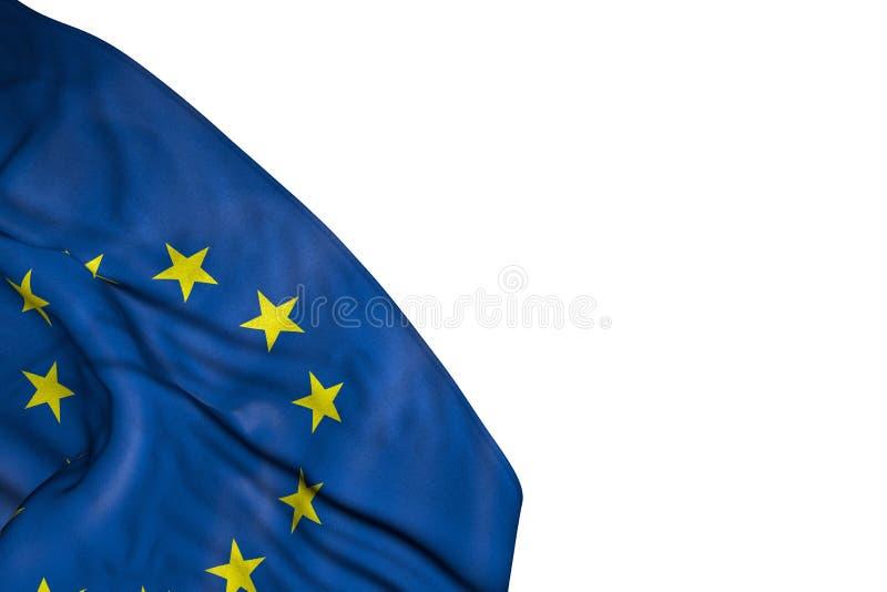 Ładna unii europejskiej flaga z dużymi fałdami kłama w dolnym lewym kącie odizolowywającym na bielu - jakaś wakacje flagi 3d ilus ilustracji