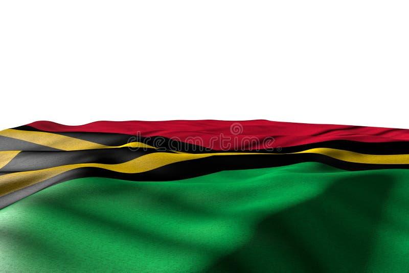 Ładna wakacje flagi 3d ilustracja - mockup Vanuatu flagi łgarski mieszkanie z perspektywicznym widokiem odizolowywającym na bielu ilustracji