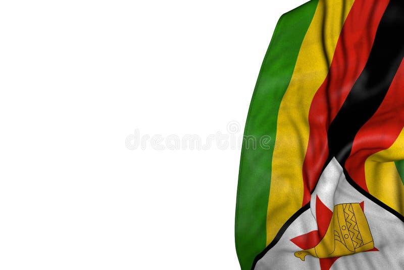 Ładna Zimbabwe flaga z dużymi fałdami kłaść w lewej stronie odizolowywającej na bielu - jakaś świętowanie flagi 3d ilustracja royalty ilustracja