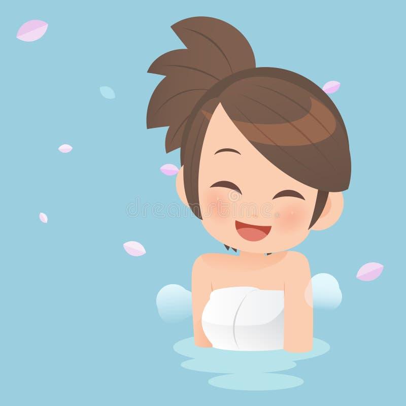 Ładne dziewczyny bierze skąpanie wewnątrz onsen gorące wiosny ilustracja wektor