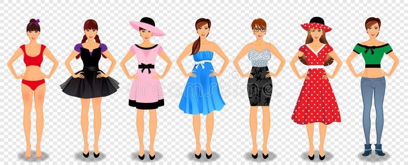 Ładne dziewczyny w różnym garderoba secie ilustracji