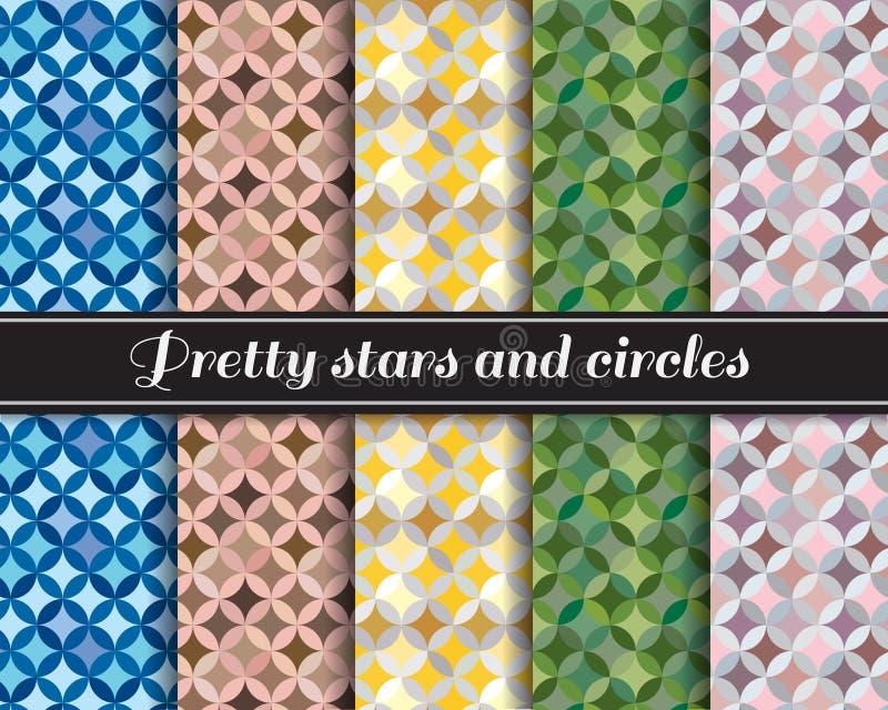 Ładne gwiazdy i okręgu wzoru 5 styl są kolorem żółtym, wojska zielenią i szarość błękitnym, brown, royalty ilustracja