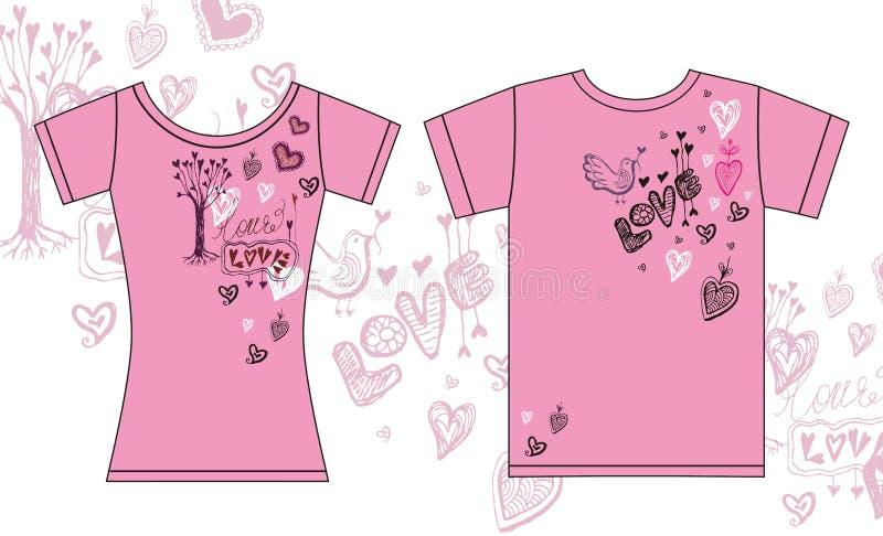 Ładne koszulki dla miłości coupe ilustracja wektor