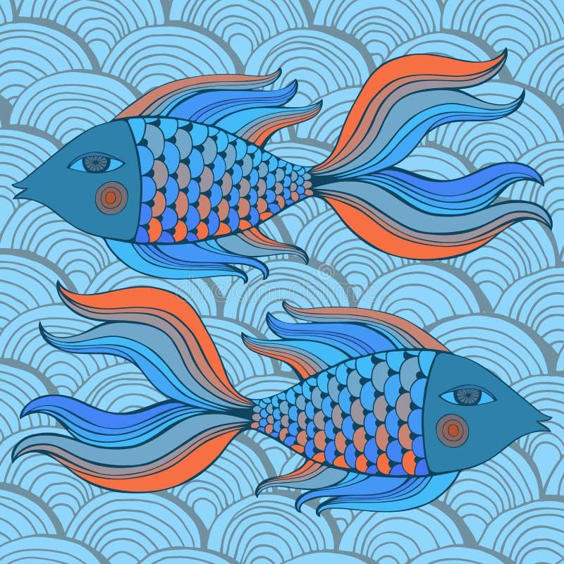 Ładne kreskówek ryba ustawiać niebieski obraz nieba tęczową chmura wektora royalty ilustracja