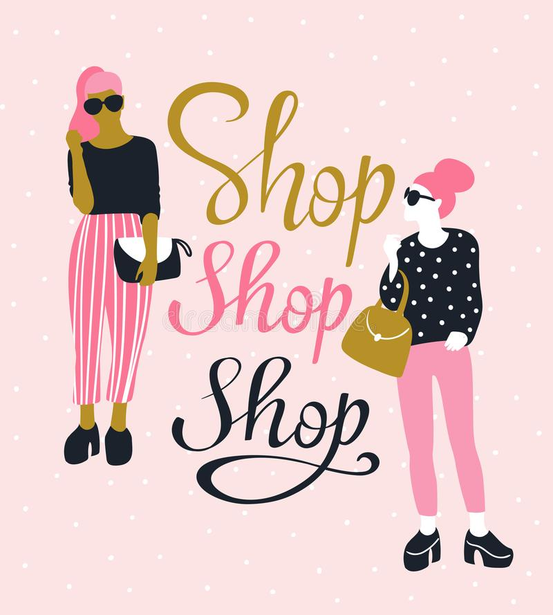 Ładne młode kobiety w okularach przeciwsłonecznych z literowania ` sklepu sklepem Robią zakupy ` również zwrócić corel ilustracji royalty ilustracja